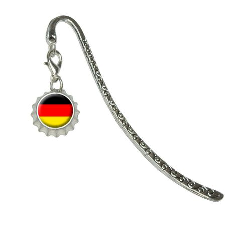 German Germany FlagMetal Bookmark with Bottlecap Charm