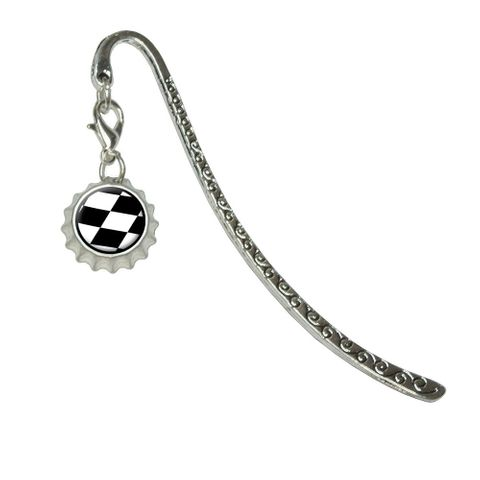 Checkered Flag - RacingMetal Bookmark with Bottlecap Charm