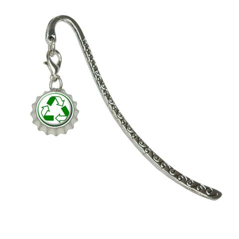 Recycle Reuse Conservation - HybridMetal Bookmark with Bottlecap Charm