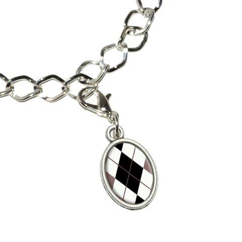 Argyle Hipster Black White - Preppy Oval Charm
