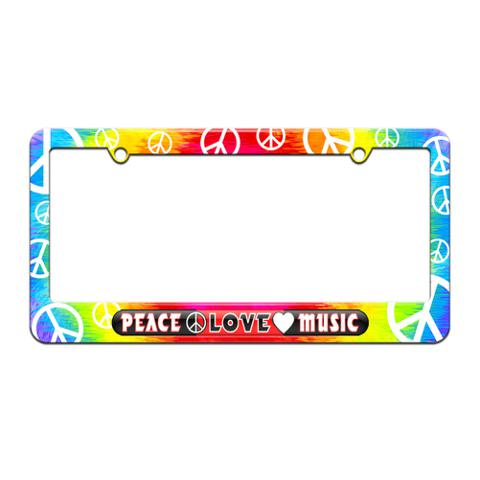 Peace Love Music License Plate Tag Frame Tie Dye Peace Signs