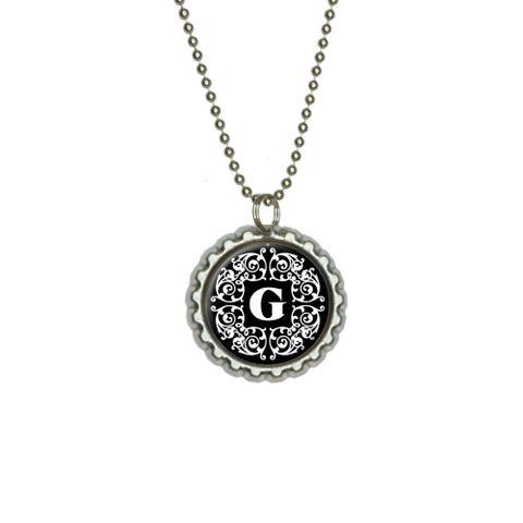 Letter G Initial Black and White Scrolls Flat Bottlecap Pendant