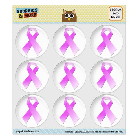 """Breast Cancer Pink Ribbon Puffy Bubble Dome Scrapbooking Crafting Stickers - Set of 9 - 1.5"""" (38mm) Diameter Each"""