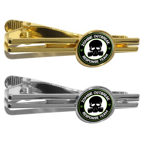 Zombie Outbreak Reponse Team Green on Black - Gasmask Skull Round Tie Clip