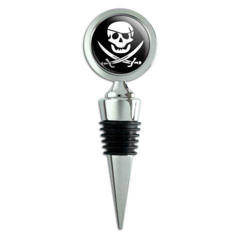 Pirate Skull Crossed Swords Jolly Roger Wine Bottle Stopper