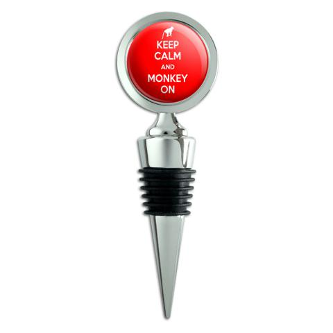 Keep Calm And Monkey On Chimp Ape Wine Bottle Stopper