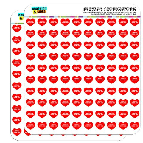 "I Love Heart - Dogs - American Eskimo Dogs - 1/2"" (0.5"") Scrapbooking Crafting Stickers"