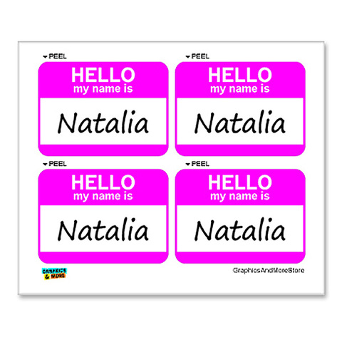Natalia Hello My Name Is Sheet Of 4 Stickers