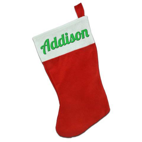 Addison - Green Text Christmas Holiday Red White Felt Stocking