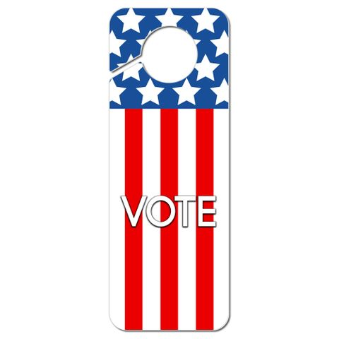 Vote Patriotic Red White and Blue Plastic Door Knob Hanger Sign