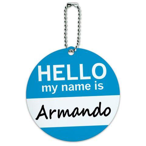 Armando Hello My Name Is Round ID Card Luggage Tag