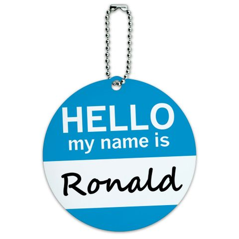 Ronald Hello My Name Is Round ID Card Luggage Tag