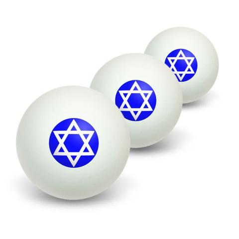 Star of David - Shield Jewish Novelty Table Tennis Ping Pong Ball 3 Pack