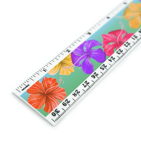 Tropical Hibiscus Flowers Pattern 12 Inch Standard and Metric Plastic Ruler
