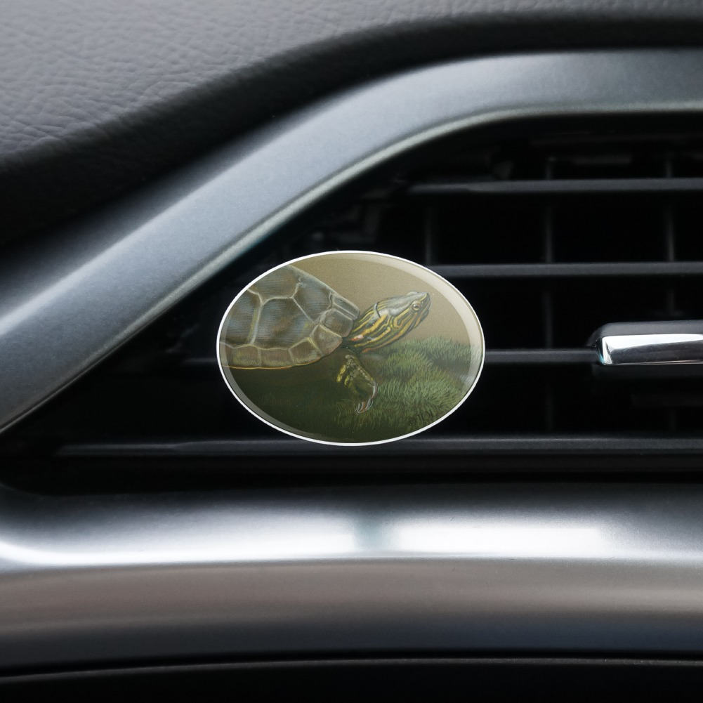Painted-Turtle-on-a-Mossy-Log-Car-Air-Freshener-Vent-Clip