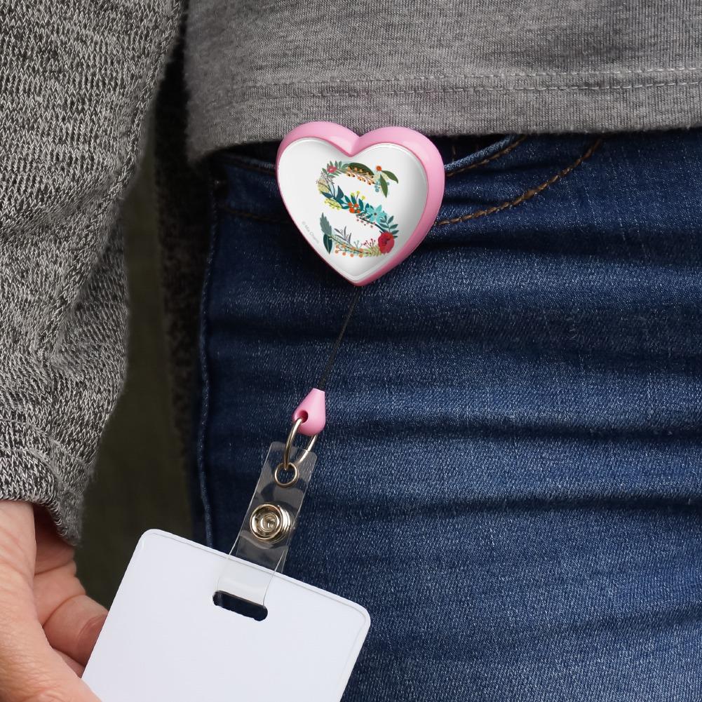 Letter S Floral Monogram Initial Heart Lanyard Reel Badge ID Card Holder
