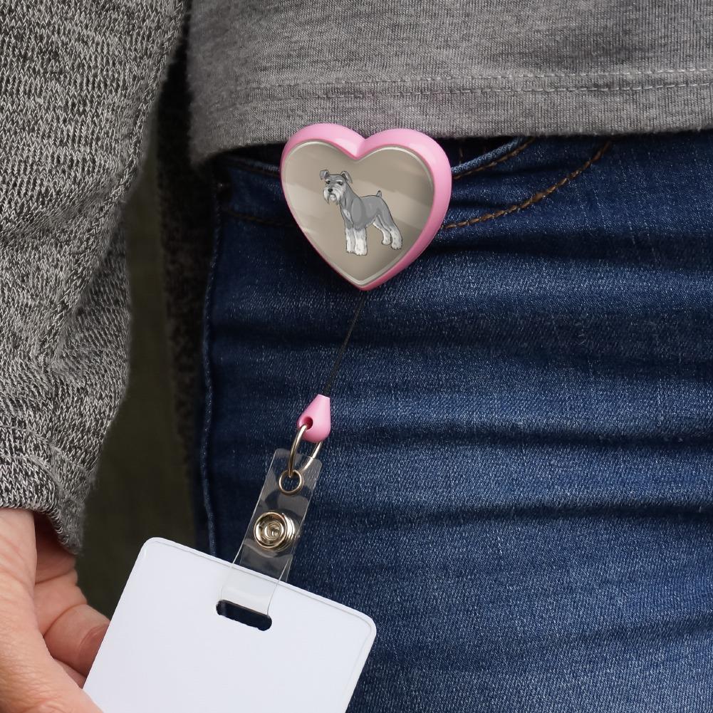 Miniature Schnauzer Dog Heart Lanyard Retractable Reel Badge ID Card Holder