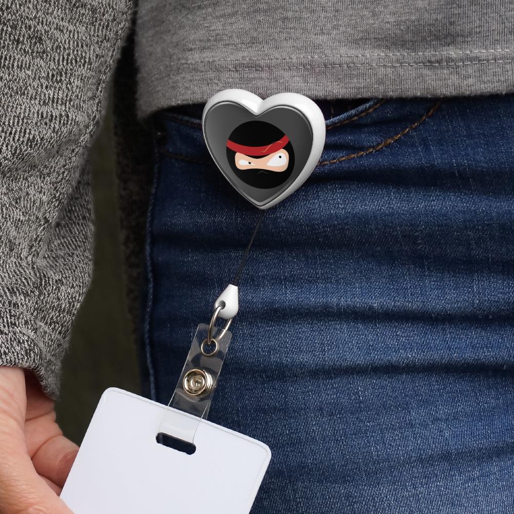 Ninja Face Head Funny Heart Lanyard Retractable Reel Badge ID Card Holder