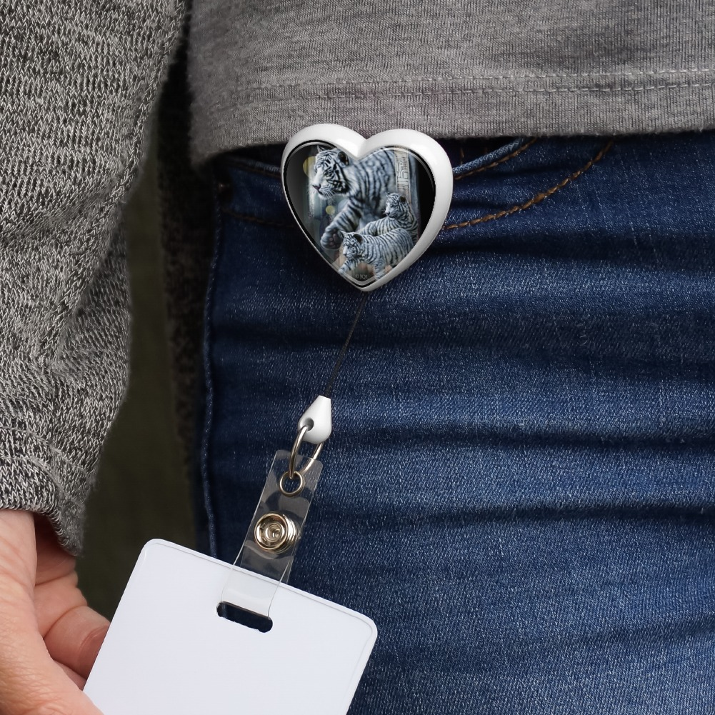 White Bengal Tigers Heart Lanyard Retractable Reel Badge ID Card Holder