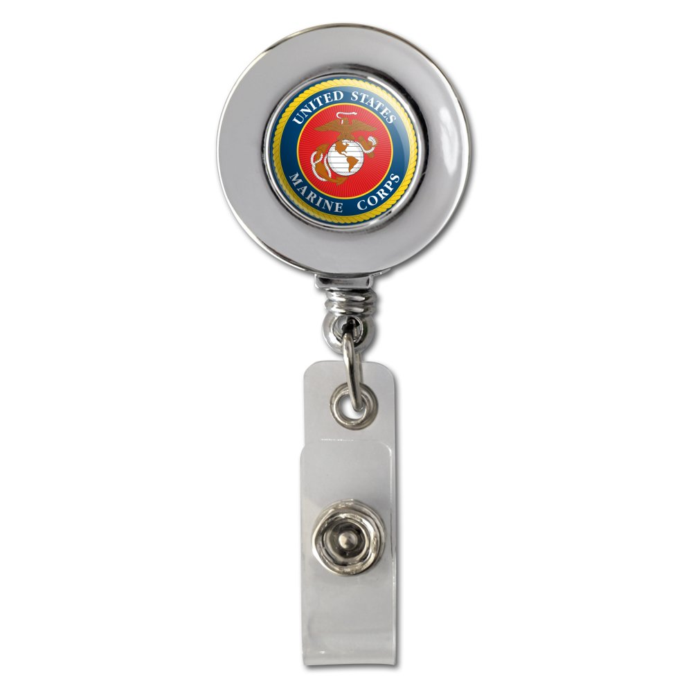 Marines USMC Logo Blue Red Gold Officially Licensed Retractable Reel Chrome Badge ID Card Holder Clip