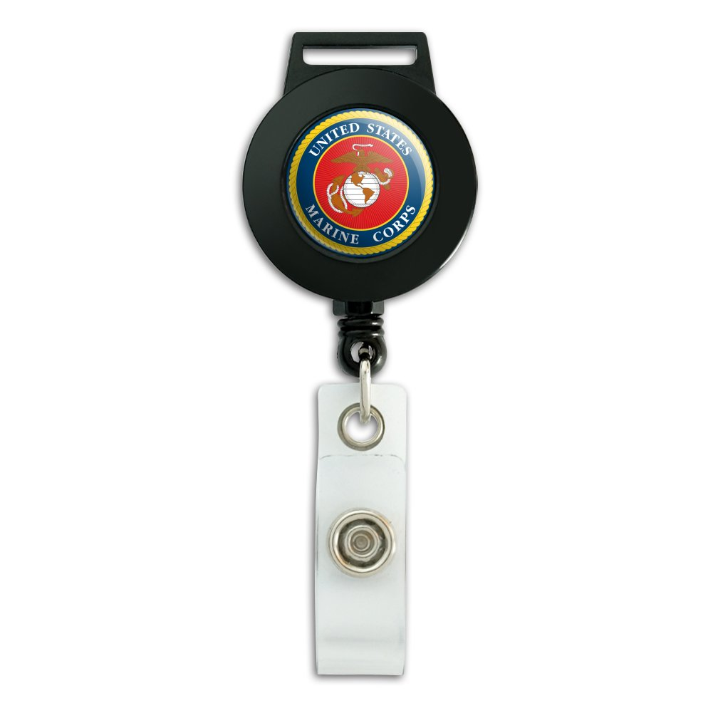 Marines USMC Logo Blue Red Gold Officially Licensed Lanyard Retractable Reel Badge ID Card Holder