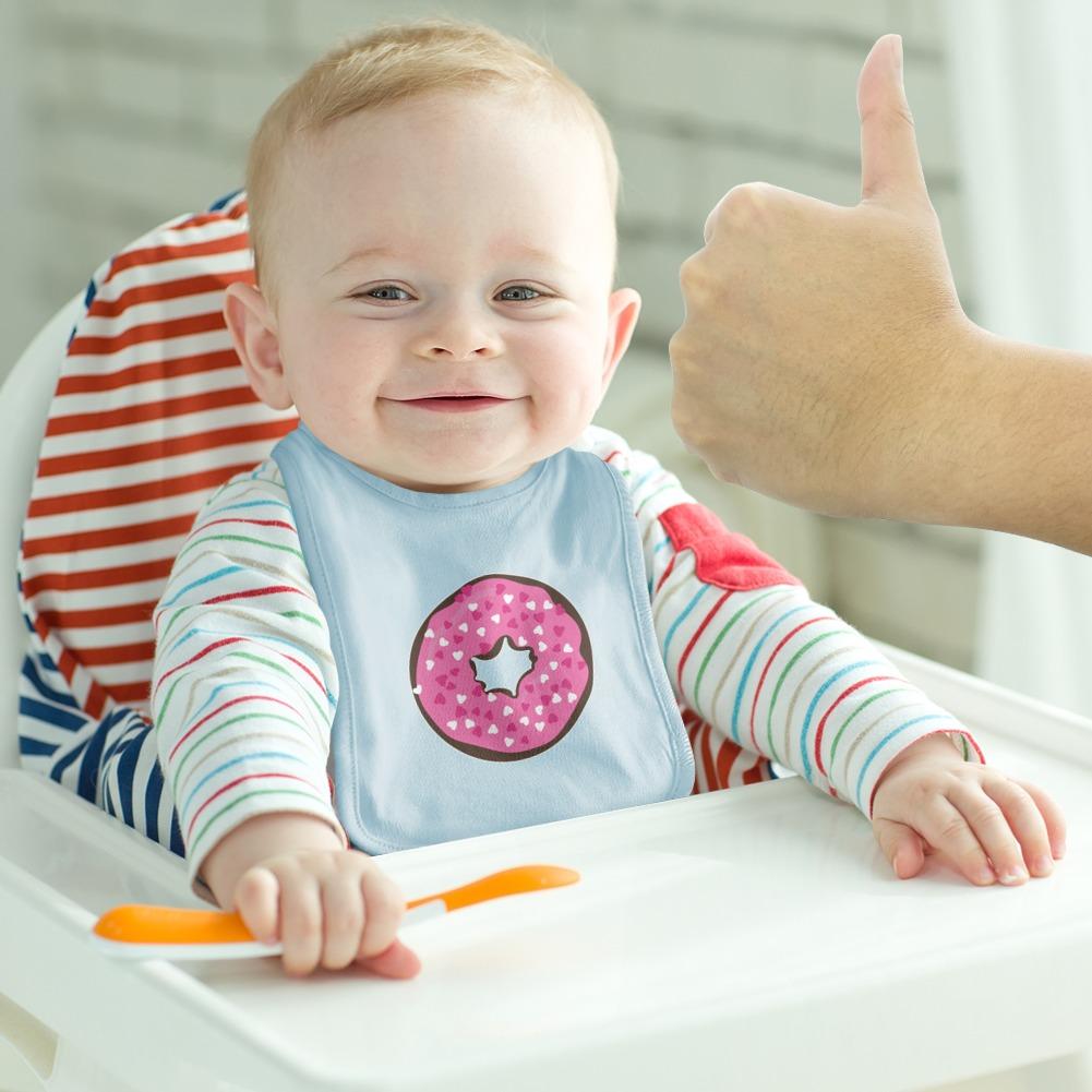 Cute Chocolate Valentine Donut Pink Hearts Baby Bib
