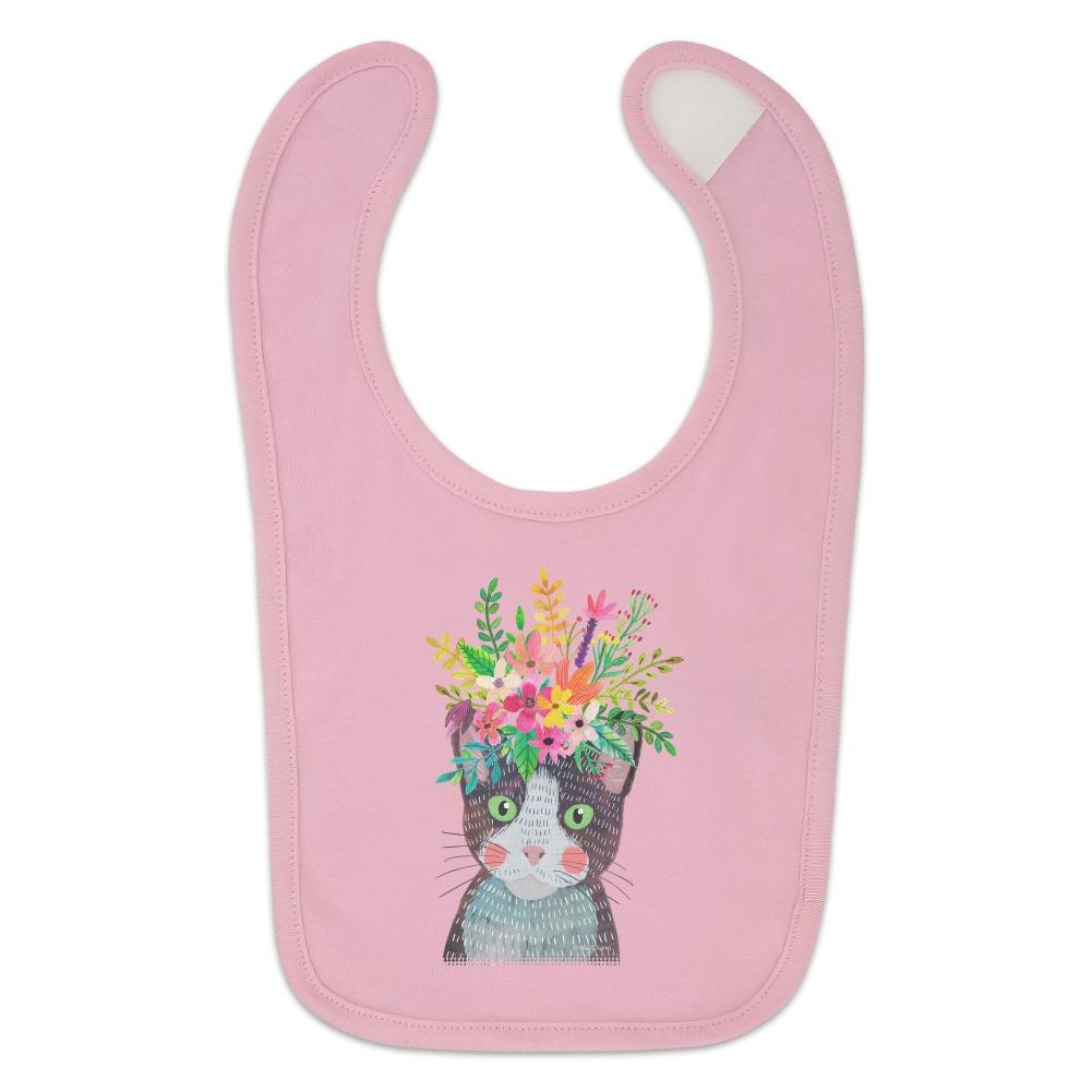 Intense Cat with Flower Hair Baby Bib