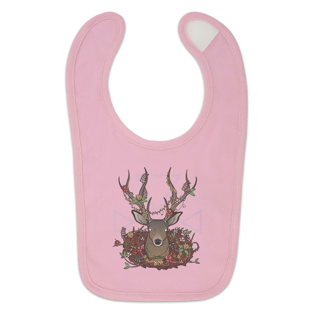 Deer Head Floral Baby Bib