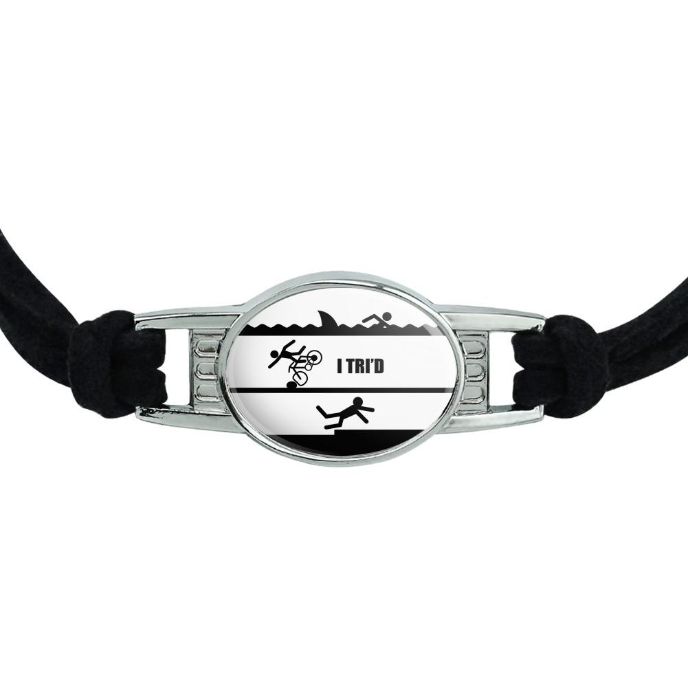I Tri/'d Triathlon Swim Bike Run Funny Novelty Suede Leather Metal Bracelet