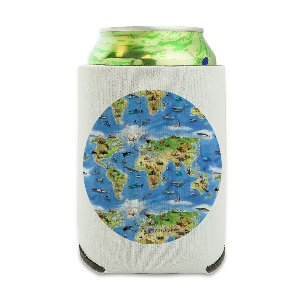 World Animals Continents Atlas Pattern Can Cooler Drink Hugg