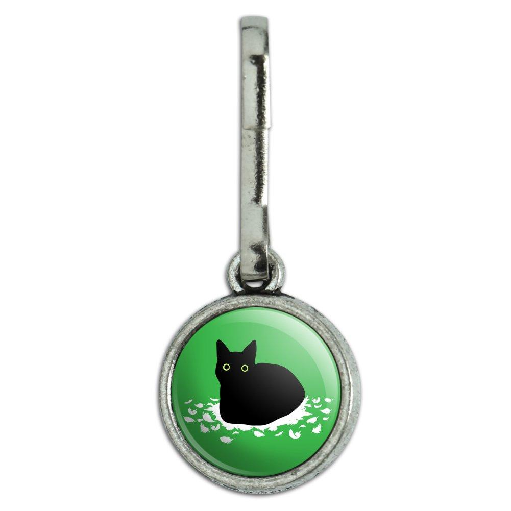 Black Cat Sitting on Feathers Charm Zipper Pull Aid