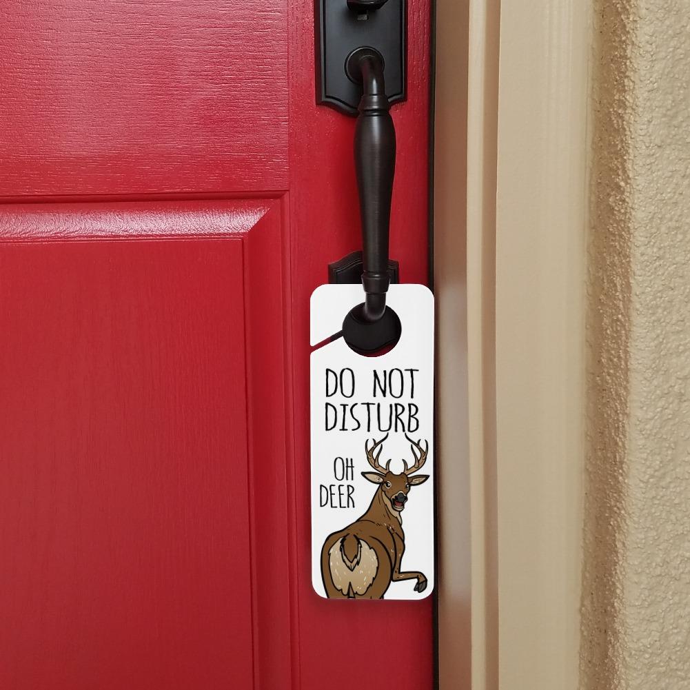 Oh Deer Butt Dear Funny Plastic Door Knob Hanger Sign
