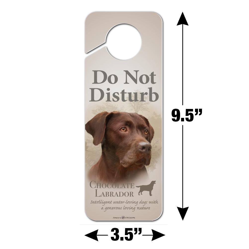 Chocolate Labrador Retriever Dog Do Not Disturb Plastic Door Knob Hanger Sign