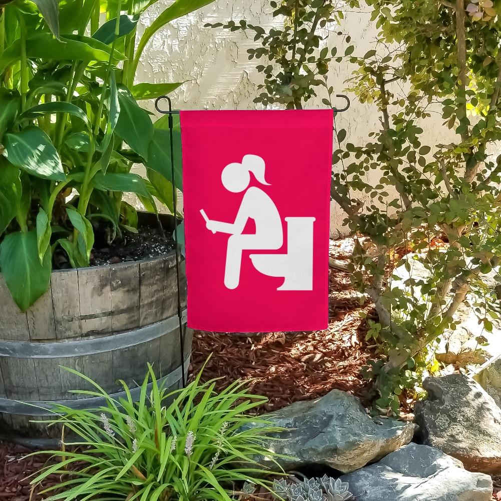 Girl Poop Pooping Sitting on Toilet Funny Garden Yard Flag