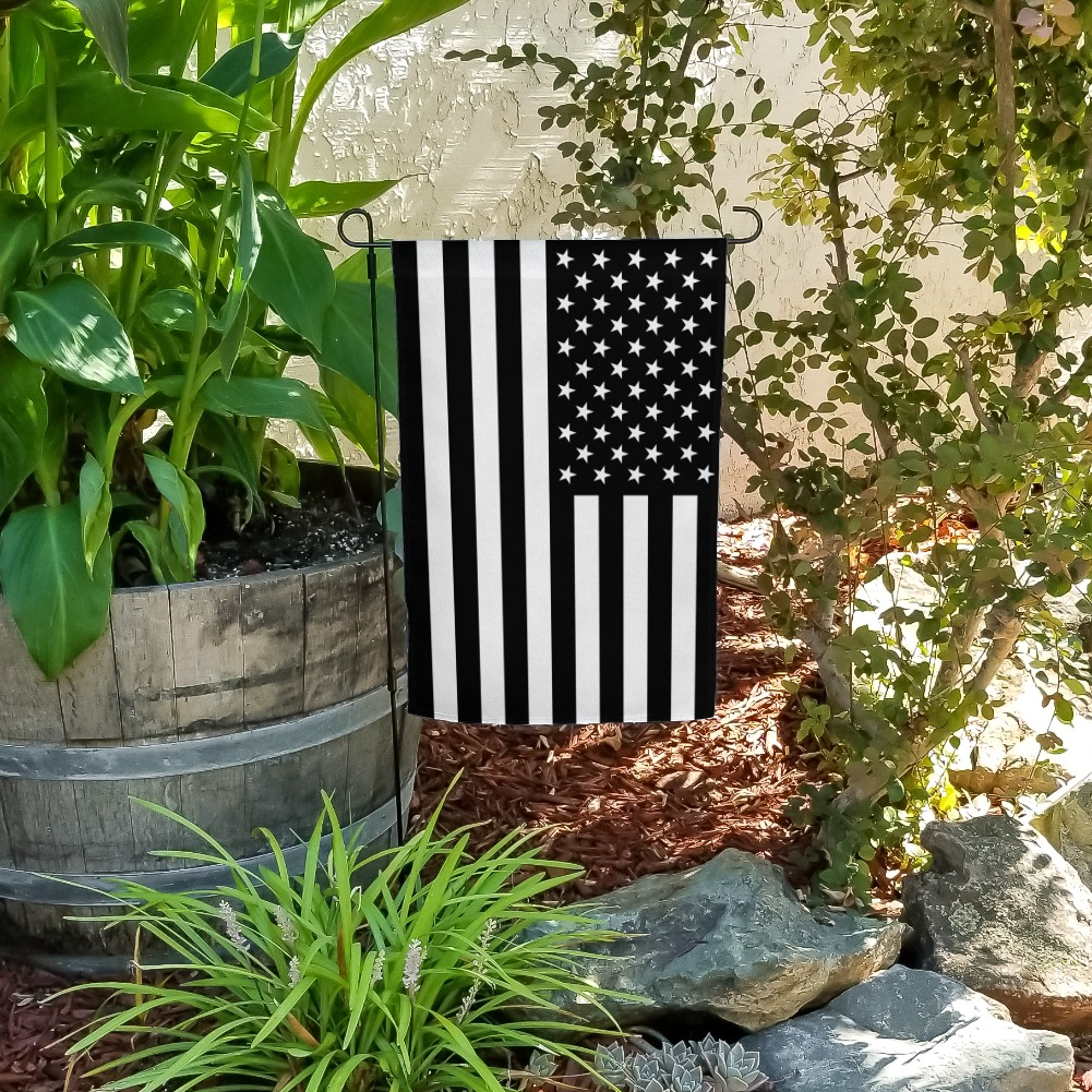 Subdued American USA Flag Black White Military Tactical Garden Yard Flag