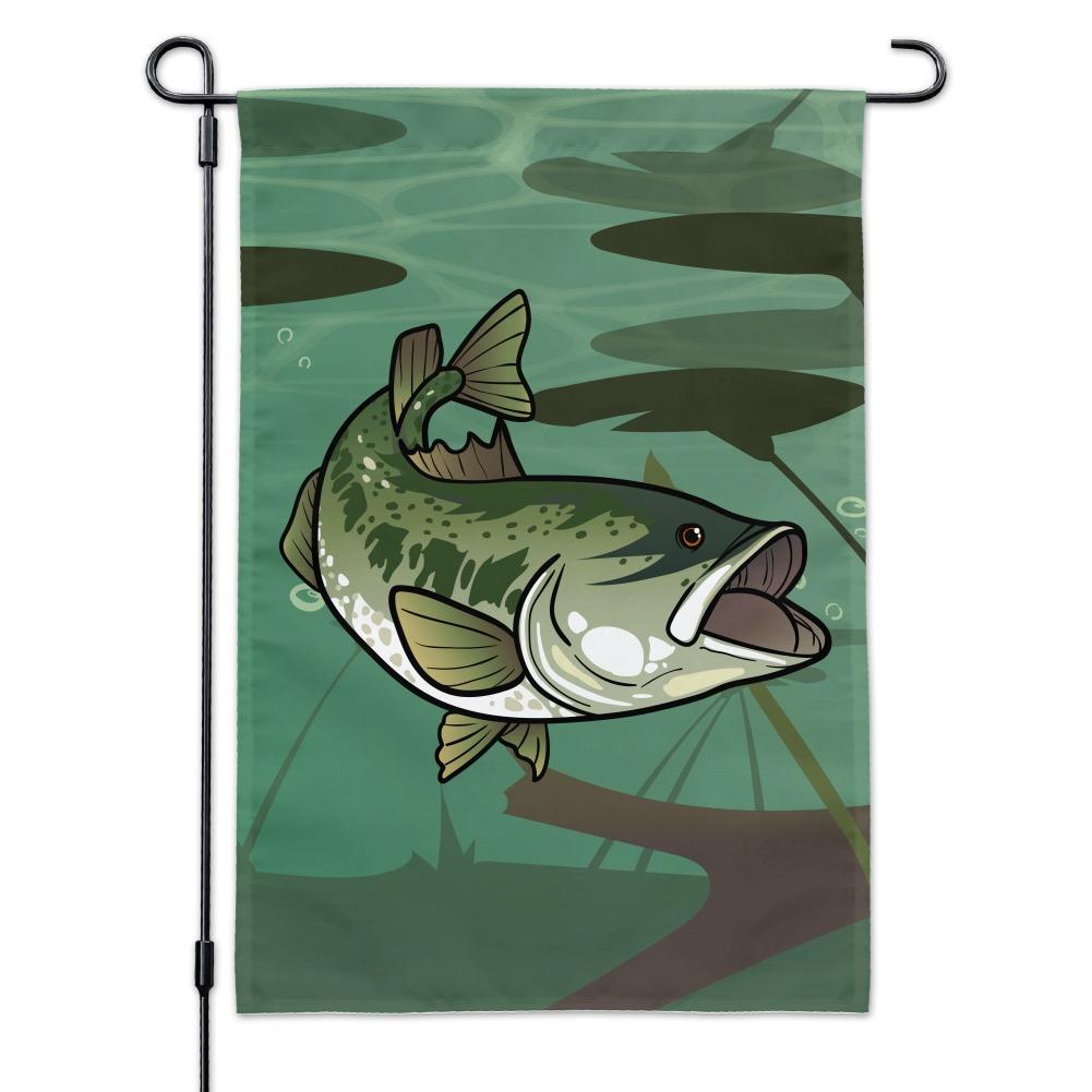 Bass Fish Swimming In River Garden Yard Flag