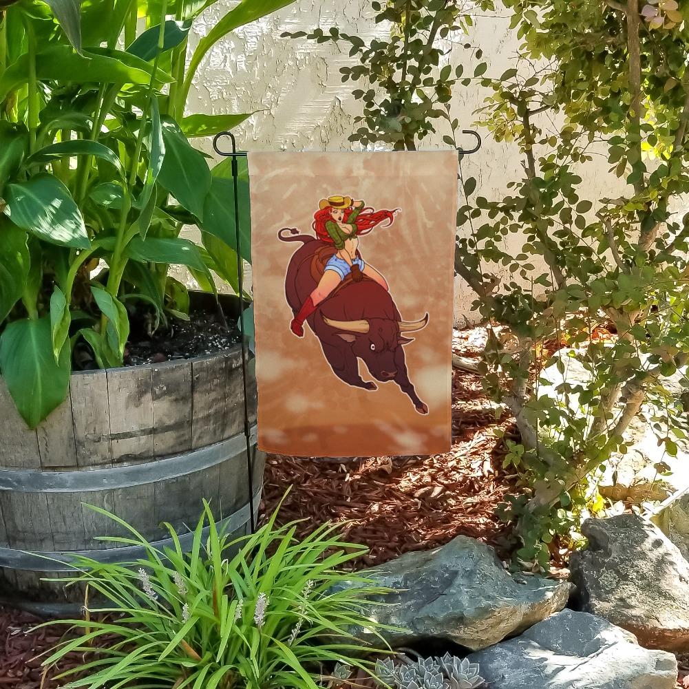 Cowgirl Pinup Riding Bucking Bull Rodeo Garden Yard Flag