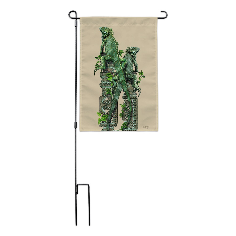 Iguanas Lizards Aztec Temple Garden Yard Flag