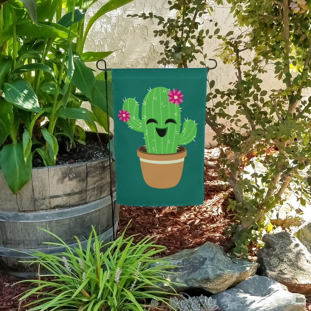 Cute Cactus in Pot with Pink Flowers Garden Yard Flag