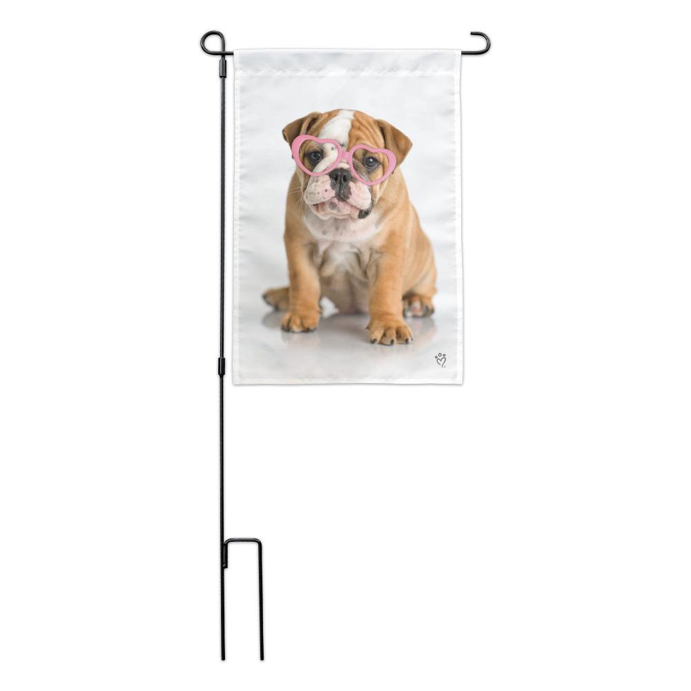 British Bulldog Puppy Dog Wearing Heart Glasses Garden Yard Flag