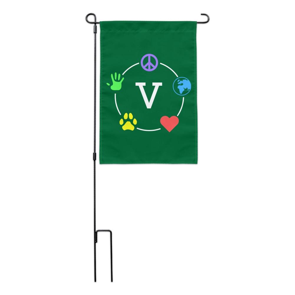 Vegan Values Circle Garden Yard Flag