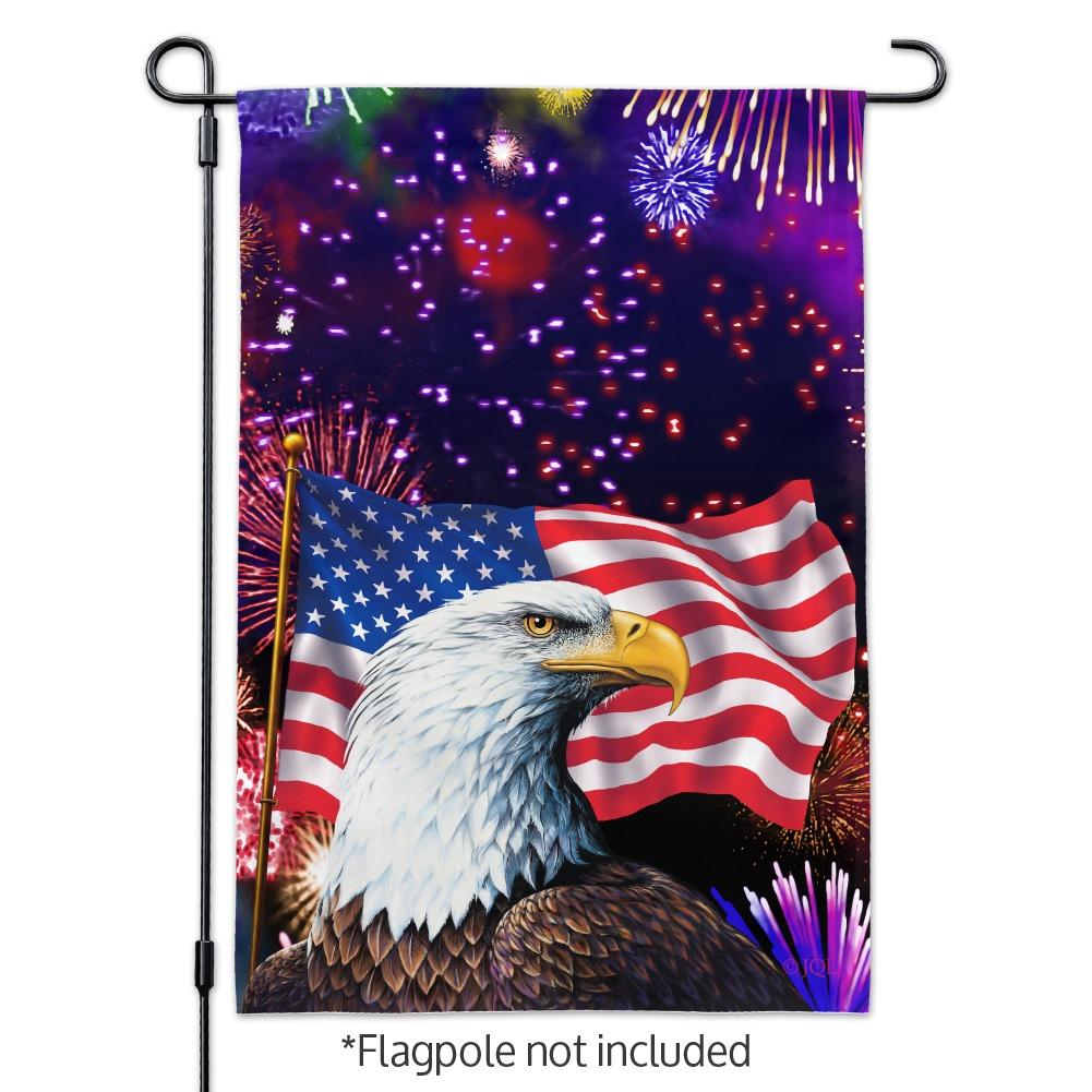 Eagle Patriotic 4th of July Celebration American Flag Fireworks Garden Yard Flag