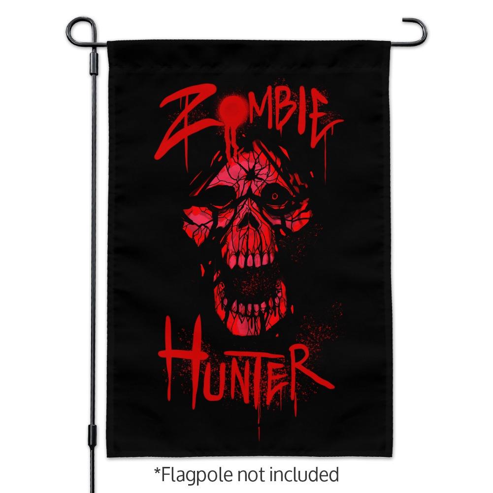 Zombie-Hunter-Red-Skull-Garden-Yard-Flag miniature 3