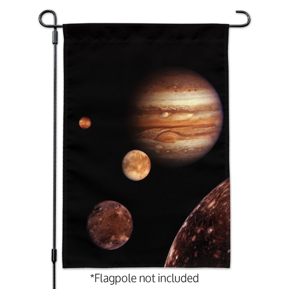 Planet Jupiter With Io Europa Ganymede and Callisto Moons Space Garden Yard Flag
