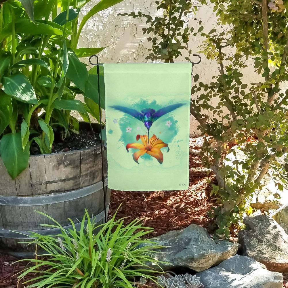 Hummingbird and Tiger Lily Flower Garden Yard Flag
