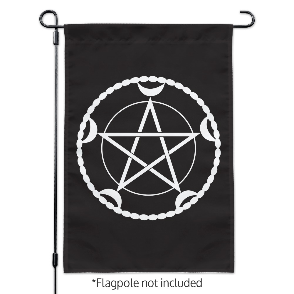 Pentacle Pentagram Moon Goddess Wiccan Witch Nature Garden Yard Flag