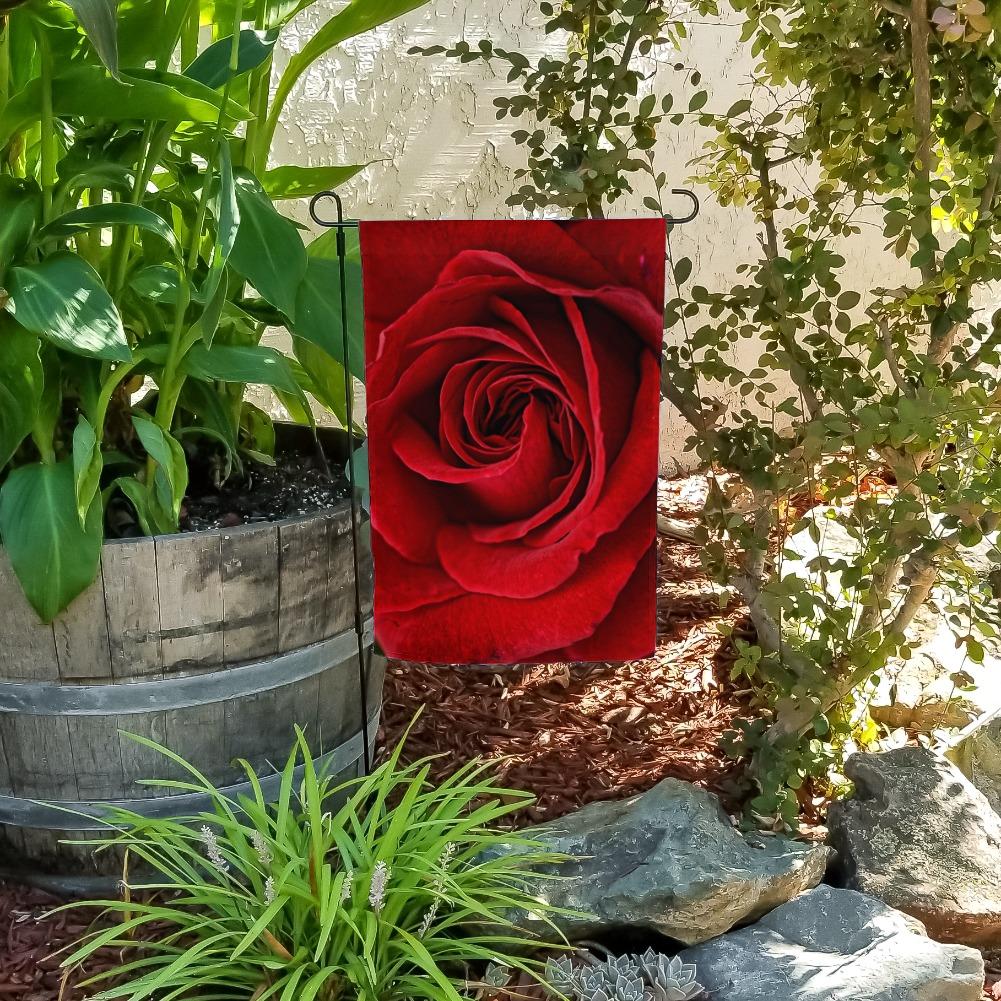 Red Rose Close-up Garden Yard Flag