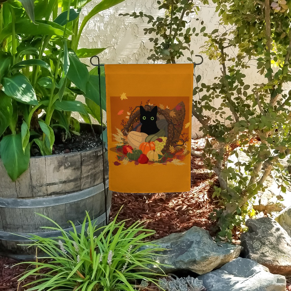 Thanksgiving Black Cat Hiding In Cornucopia with Pumpkins Garden Yard Flag