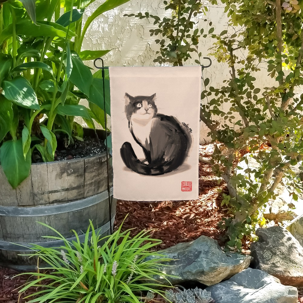 Cat Traditional Chinese Ink Painting Garden Yard Flag
