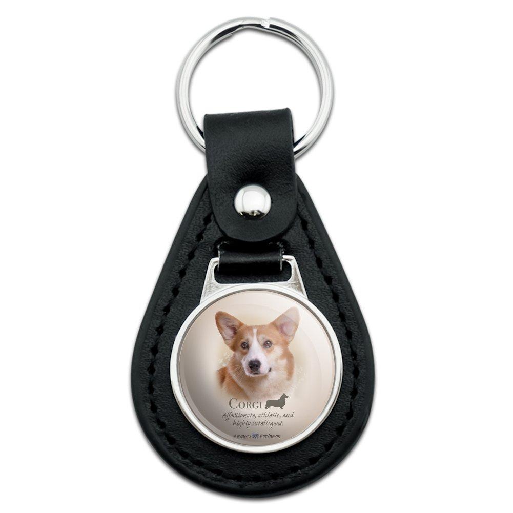 Black Leather  Corgi Dog Breed Keychain